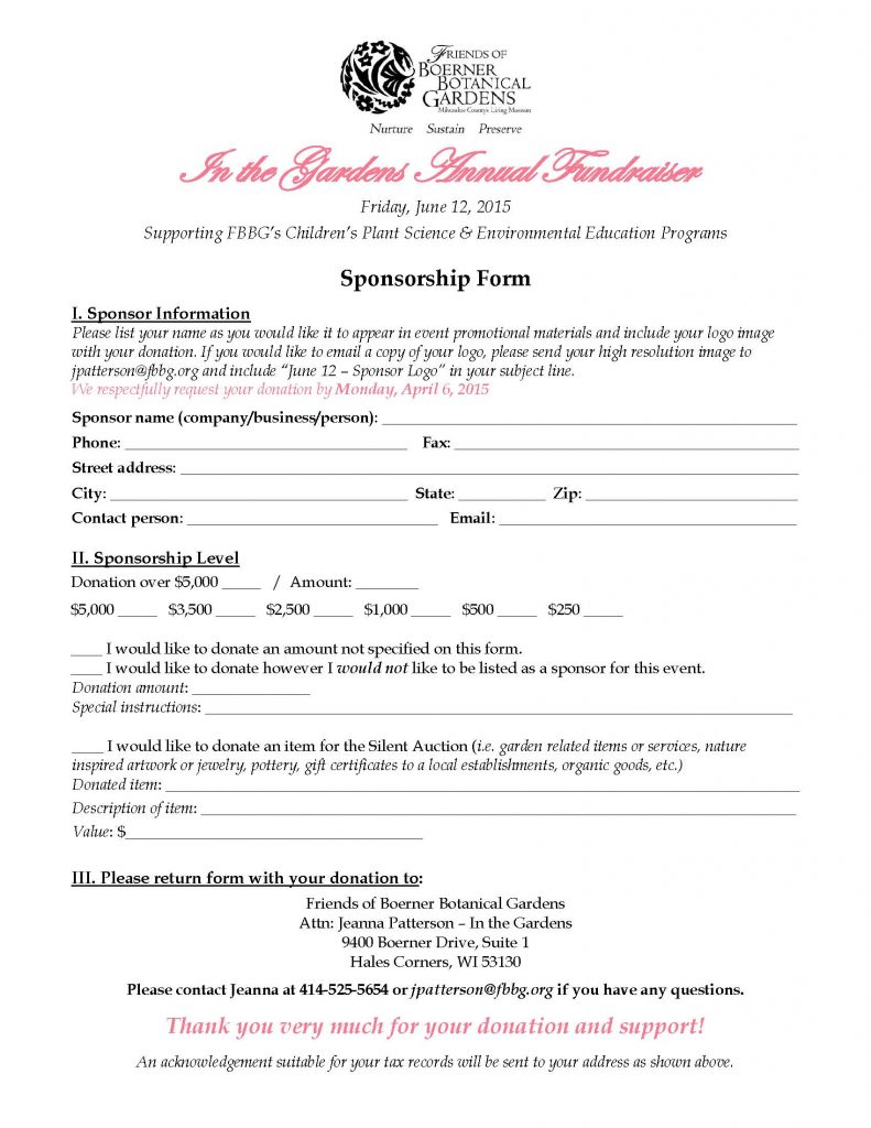 Becoming An Event Sponsor For Our In The Gardens Fundraiser Is A Great Way  To Promote Your Business While Supporting Your Community!  Event Sponsorship Agreement Template