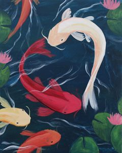 painting of koi swimming in the shape of a heart